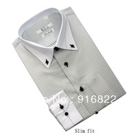 Brand New Mens Dress Shirts Fashion Slim Fit Unique Neckine Stylish Collar With A Button For Men's Plaid Long Sleeve T Shirts