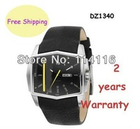 New Men's Analog Black Leather Stripe Watch DZ1340 1340 + Original Box