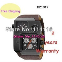 New DZ1319 1319 Grey Square Dial Brown Leather Mens Watch Gents Wristwatch