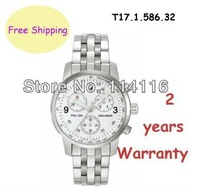 NEW T17.1.586.32 Swiss Quartz Movement Mens Chronograph White Dial Watch T17 T17158632 + Original Box