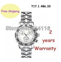 New T17.1.486.33 Multifunctional Quartz Mens Watch T17 White Dial Swiss Movement T17148633 + Original Box