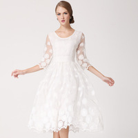2014 New Fashion Princess Sundress Embroidered White Lace Flower Dress Slim Waist Sleeve Knee-Length Summer Dresses