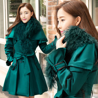 Trench type 2013 multicolour large fur collar medium-long Women down coat
