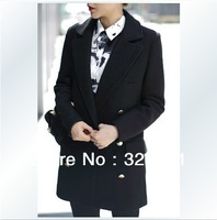 FREE SHIPPING ! runway coat Winter new European style handsome double-breasted woolen coat uniform wind straight