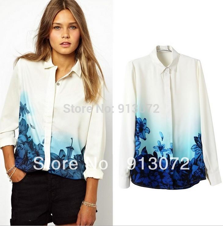 St912 nueva moda ladies' floral azul degradado de impresión blusa de