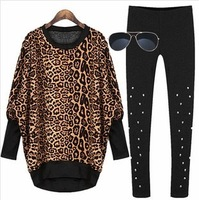 Free shipping Fashion vintage loose pullover fleece thickening leopard print dovetail autumn and winter long design sweatshirt