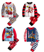 Retail Baby Boys' Pajama sets car pyjama cartoon clothing sets kids sleepwears boys underwear cotton cars homewear 4styles