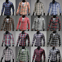 Men's clothing shirt 2013 spring men's clothing lovers shirt male long-sleeve plaid shirt male shirt