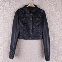 Free shipping New 2013 Autumn coat leather clothing female short design slim leather jacket women motorcycle PU clothing
