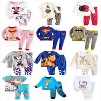 24pcs Hot Sale New 2013 cotton Hello kitty baby Christmas pajamas of the children leopard pyjamas kids baby 2 pcs clothing sets