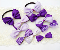 Free shipping Purple hair accessory set bow hair accessory handmade hairpin headband set  sizes and colors can be customized.