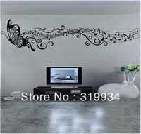 free shipping ,English proverbs- Classic music butterfly.Wall Stickers