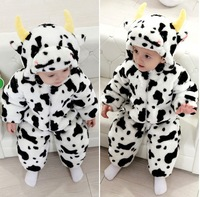 Free Shipping 2013 Cute cow girls winter cotton long-sleeved hooded Romper style leotard