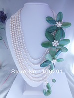 Free shipping !!! Wedding Jewelry ,High White Natural Freshwater Pearl Agate Flower Jewelry Necklace