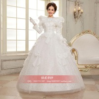 Cotton wedding dress 2013 autumn long-sleeve thermal white bride wedding dress thermal princess wedding dress