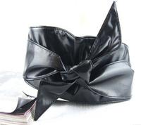 happy SZ  New arrive autumn summer fashion long circle soft leather bow body shaping bands wide belt cummerbund Free shipping