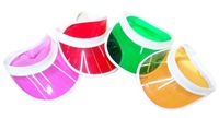Summer holiday Neon sun visor sunvisor party hat clear plastic cap