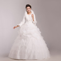 Wedding dress formal dress long-sleeve winter princess bride thermal plus cotton plus size wedding dress