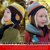 Winter male child cartoon bear ear plus velvet thick hat scarf gloves kit