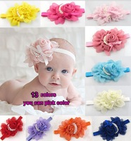 Fancy Floral Baby Headband, newborn headband, Baby Girl headband, photography props - vintage couture - [Top- Baby ]