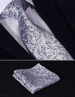 "TF1013B8 Navy Blue Silver Paisley Floral 3.4""Silk Wedding Gravata Jacquard Mans Tie Necktie Pocket Square Handkerchief Set Suit"