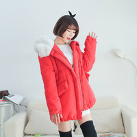 2013 with a hood long-sleeve loose medium-long wadded jacket outerwear female aj272
