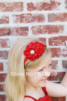 Ruffle Headband - NEW Small Satin Ruffle Flower Skinny Elastic Headband TB1002