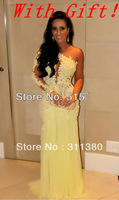 With Gift! Sexy One Shoulder See Through Lace Sexy Yellow Mermaid Prom Evening Dress Vestidos Formales 2014 Custom Made