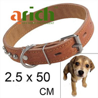 New Style Durable 2.5 x 50 Synthetic Leather Dog Collar Pets Neck Strap - Tawny