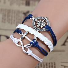 New Fashion infinity anchor Compass silver tone bracelet,navy bracelet, white woven leather Nautical Bracelet .IB504(China (Mainland))