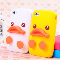New 3D Soft Cute Silicone Duck smile Cover skin Case for Apple iPhone5 5s 4G 4s Big yellow duck