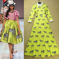 New collection women autumn spring runway fashion animal print elegant expansion bottom long sleeve maxi dress new fashion 2013
