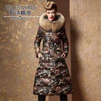 New 2013 Winter Women's Fashion Raccoon Fur Slim Medium Long Duck Down jacket  Coat Camo Parka Hooded Size 3XXXL Black Cotton