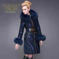 Winter Women Medium Long Down jacket Luxurious Fur collar Hooded White Duck Down jacket Black Blue Coat Plus Size 3XL Free EMS