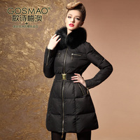 2013 Winter Women Medium Long Down jacket Large Fox Fur collar Hooded White Duck Down jacket Black Coat Plus Size 3XL
