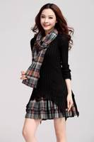 New 2014  Women Patchwork Hollow Crochet Plaid  Dress oml1175
