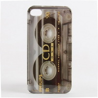 3D visual Protective Retro Tape Style Phone Case for iPhone 4/4S Free Shipping