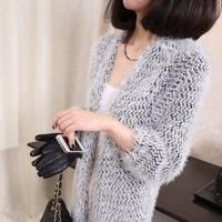 Free shipping 2013 winter new Korean yards Girls Long loose knit mohair cardigan sweater