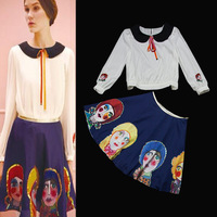 Women Cute Long Sleeves Peter Pan Collar Sequined Chiffon Blouses+   Cartoon Print Skirt Boutique Two Pieces Set