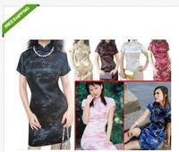 Free shipping  Chinese Women Silk Short Dresses Wholesale Cheongsam plum blossom Style Qi Pao