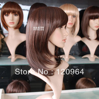 Wholesale Imitation human made high Mother arrival medium-long girls straight light brown wigs,natural synthetic hair