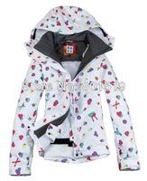 Free shipping 2013 new arrival womens peach hearts waterproof snowboard jacket ladies Veneer skiing jacket snow parka skiwear
