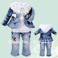 free shipping  kids girl's spring sets denim jacket +tshirt + Jeans girl's clothing sets  children suits 3sets/lot 80-100