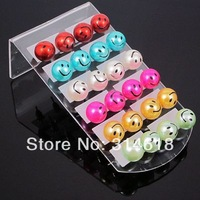 New Trendy Multicolor Pearl Earrings Smiling Face Pearl Stud Earrings 10mm Pearl Stud Earrings Free Shipping 24pairs/lot