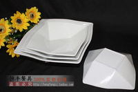 A5 melamine tableware thickening of the plate white plate square plastic square bowl fish