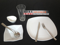 Porcelain transparent glass dinnerware set western dish square bowl weidie knife and fork spoon