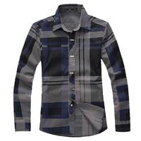 2015 Men 100% cotton long-sleeve plaid shirt, slim  plus size shirts men,mens 5XL,6XL,causal  shirts.