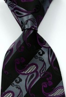 Classic Paisleys Stripe Black Gray Purple JACQUARD WOVEN Silk Men's Tie Necktie