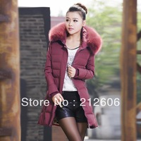 2013 New Fashion Women's Medium-Long Down Coat Winter With a Hood Thickening Slim Cotton-Padded Jacket Winter Clothes