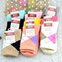 Warmth  winter women's socks grid pattern Pure cotton long socks